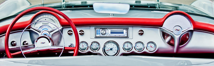 Car Photograph - 1954 Chevrolet Corvette Dashboard by Jill Reger