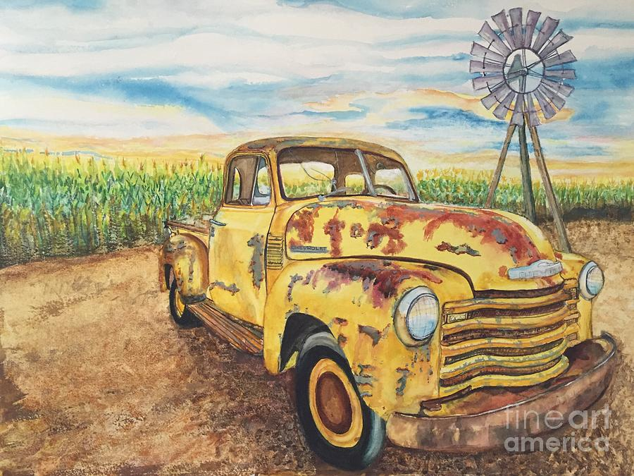 Automobile Painting - 1954 Chevrolet Pickup Truck.   by DJ Laughlin