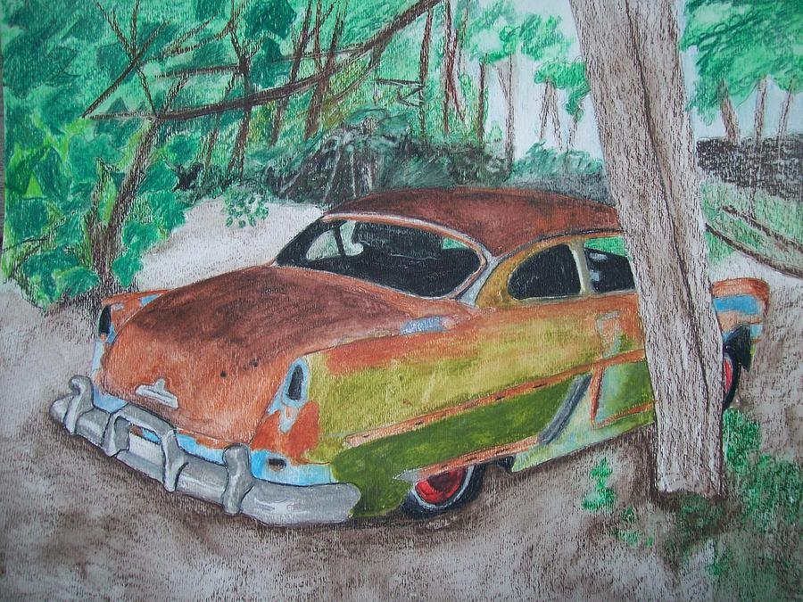 Hudson Painting - 1954 Hudson Coupe Lost In The Woods Original Watercolor By Pigatopia by Shannon Ivins