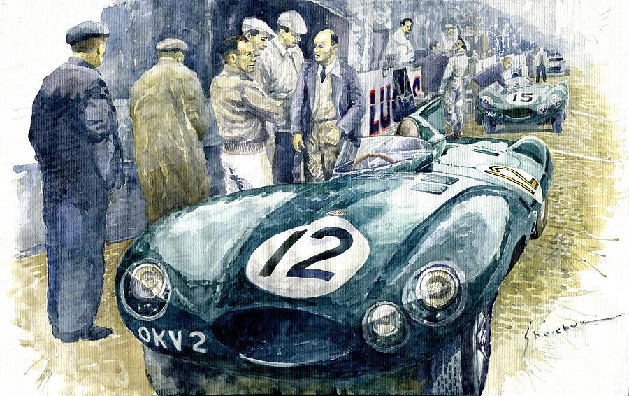 Automotive Painting - 1954 Le Mans 24 Jaguar D type Short Nose Stirling Moss Peter Walker  by Yuriy Shevchuk