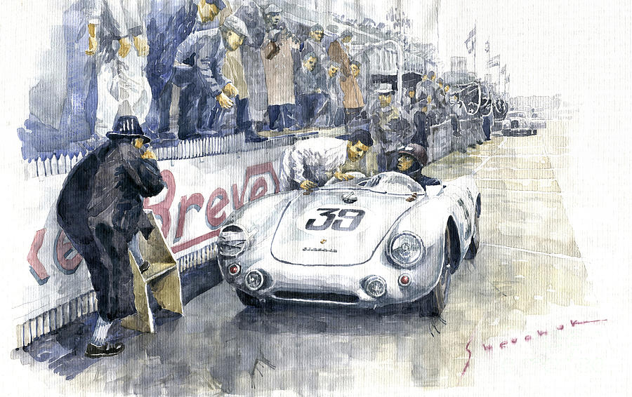 Automotive Painting - 1954 Le Mans 24 Porsche 550 Hans Herrmann. by Yuriy Shevchuk