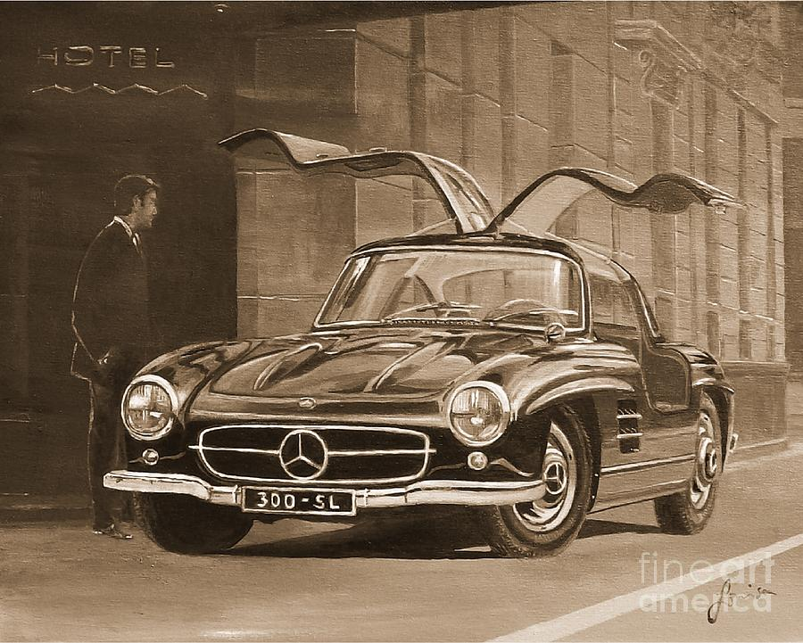 1954 Mercedes Benz 300 SL  In Sepia by Sinisa Saratlic