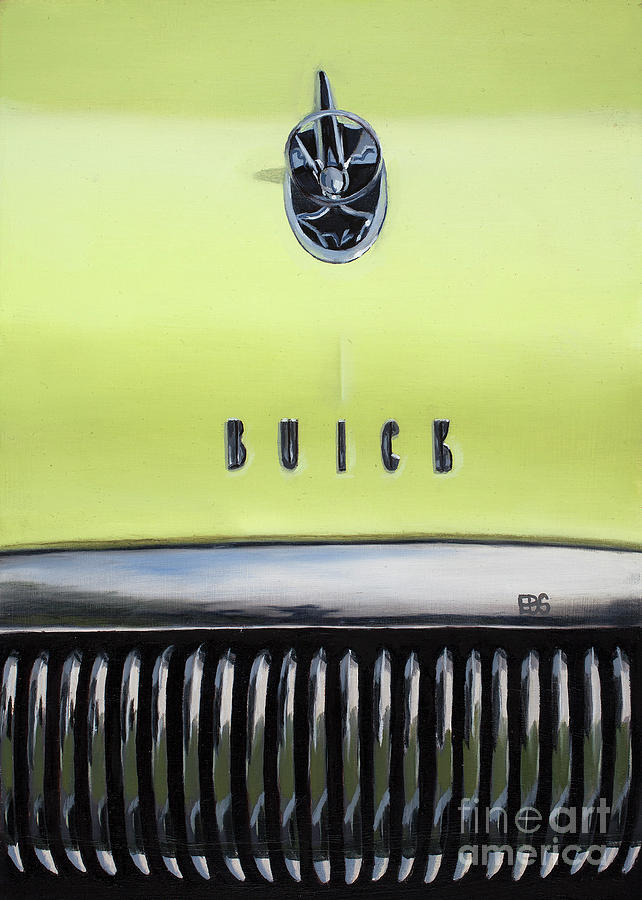 50s Painting - 1954 Yellow Buick by Elaine Brady Smith