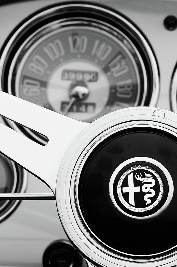 Bw Photograph - 1955 Alfa Romeo Steering Wheel Emblem -2254bw4 by Jill Reger