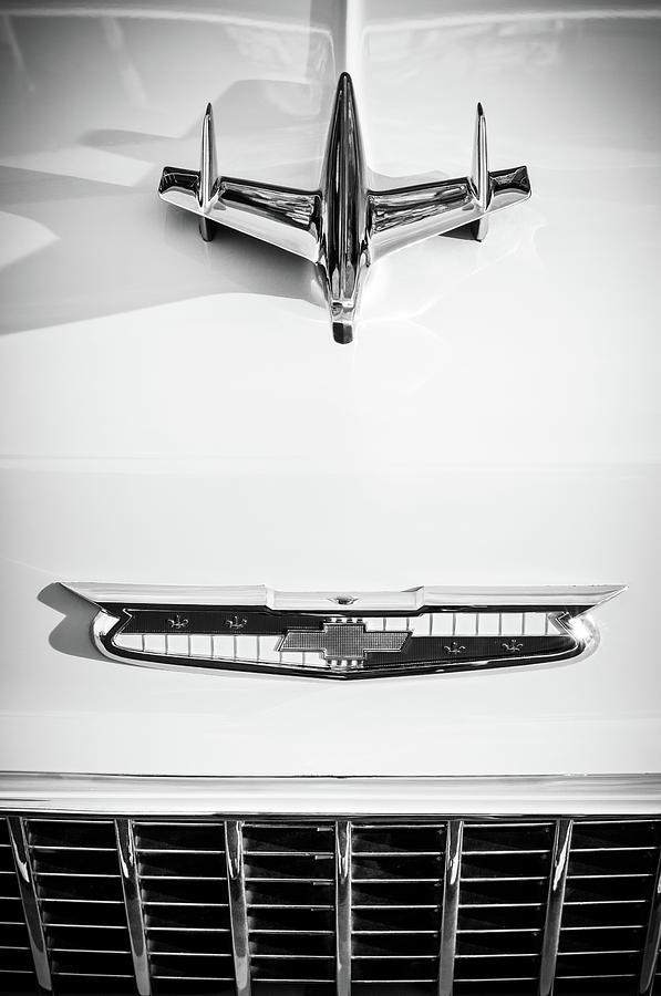 Bw Photograph - 1955 Chevrolet Bel Air Hood Ornament - Emblem -0067bw by Jill Reger