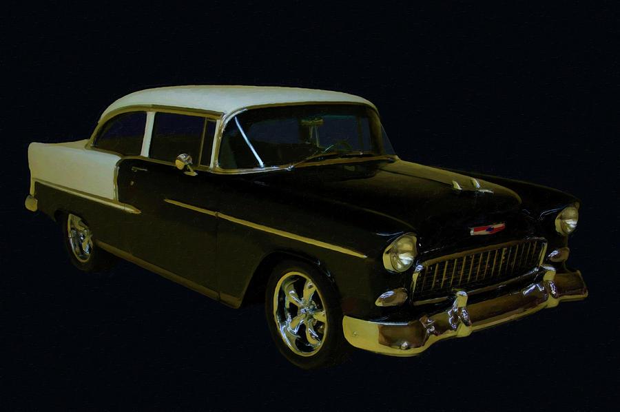 1955 Chevy Bel Air Black Digital Oil Painting By Chris Flees
