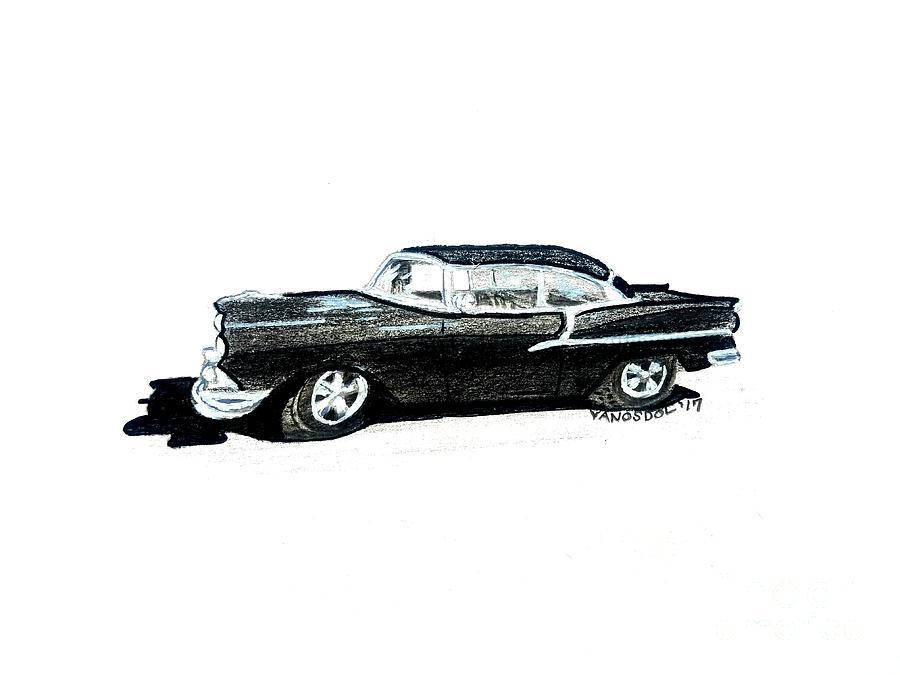 1955 Chevy Bel Air Side View Drawing By Scott D Van Osdol
