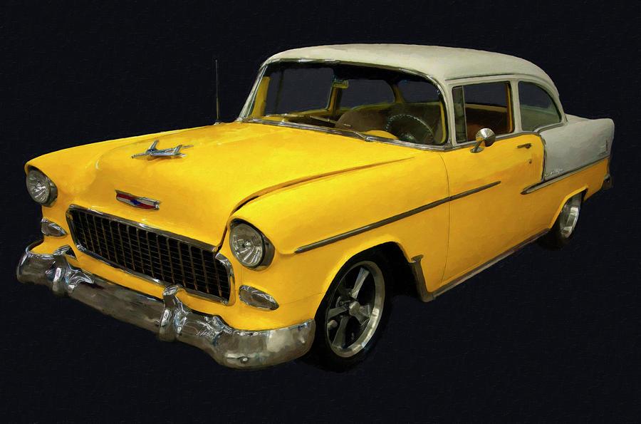 1955 Chevy Bel Air Yellow Digital Oil Painting By Chris Flees
