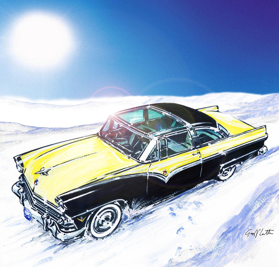 American Cars Painting  Ford Crown Victoria Skyliner In The Snow By Geoff Latter