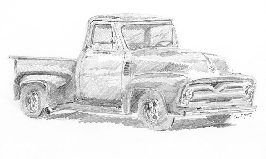1955 Ford Pickup Sketch Drawing by David King