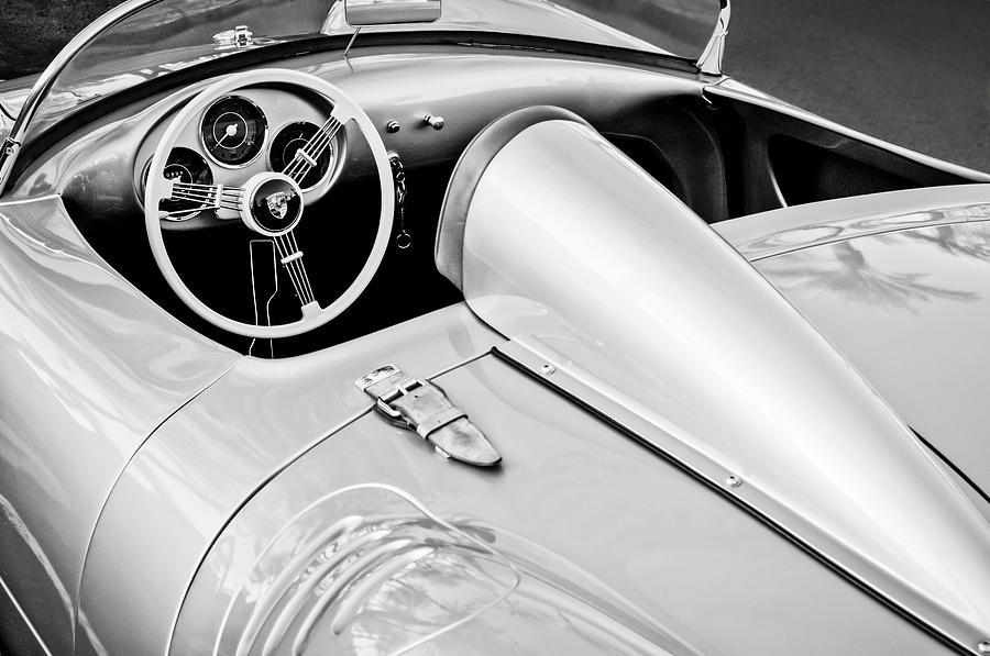 1955 Porsche Spyder Steering Wheel -0037bw3 Photograph by Jill Reger
