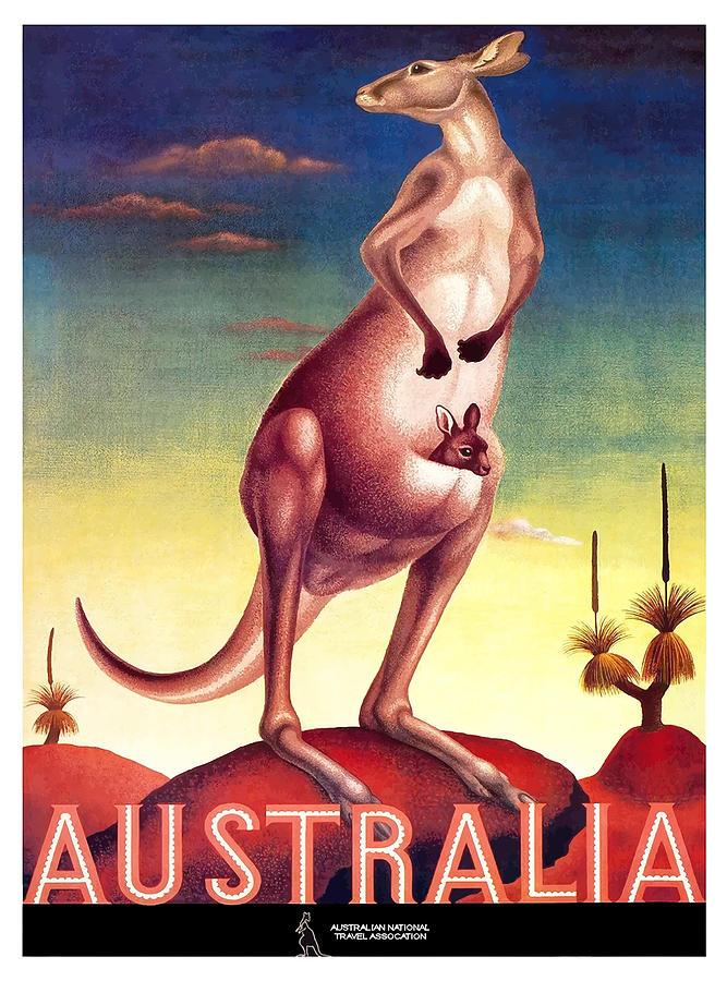 Australia Digital Art - 1956 Australia Outback Kangaroo Travel Poster by Retro Graphics