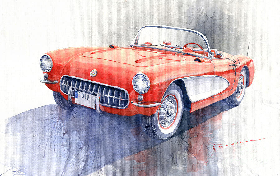 Watercolor Painting - 1956 Chevrolet Corvette C1 by Yuriy Shevchuk