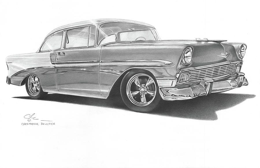 Chevy Drawing - 1956 Chevy by Christopher Bracken