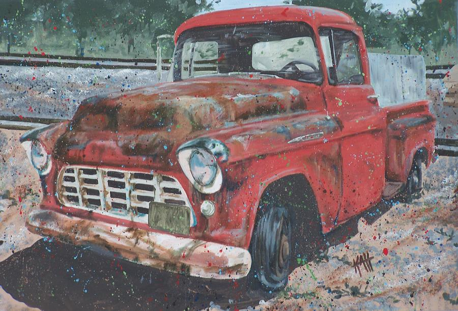 Painting Painting - 1956 Chevy Pickup by Les Katt