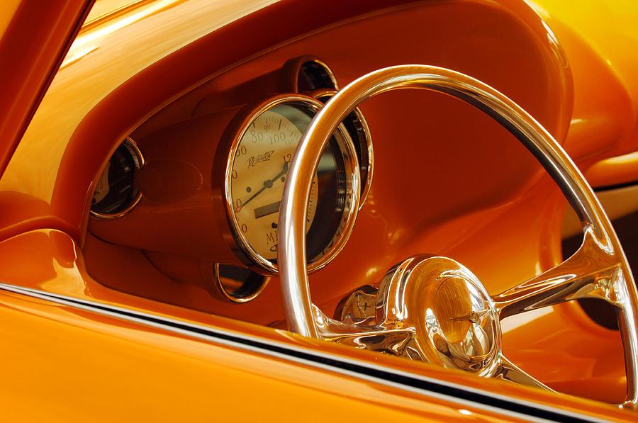Car Photograph - 1956 Chrysler Custom 2 Door Sport Wagon Steering Wheel by Jill Reger