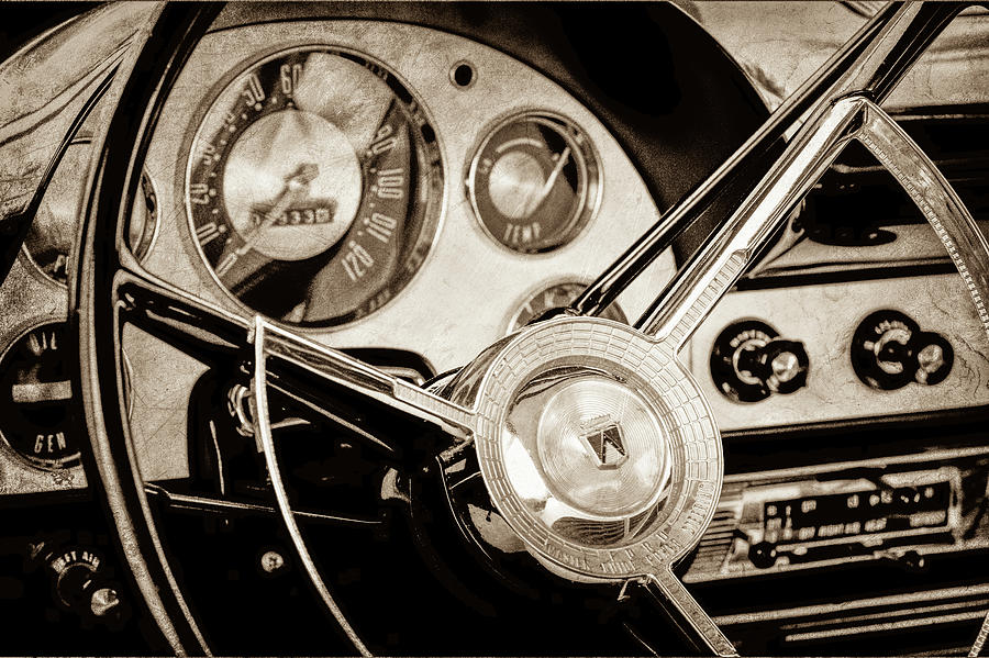 Transportation Photograph - 1956 Ford Victoria Steering Wheel -0461s by Jill Reger