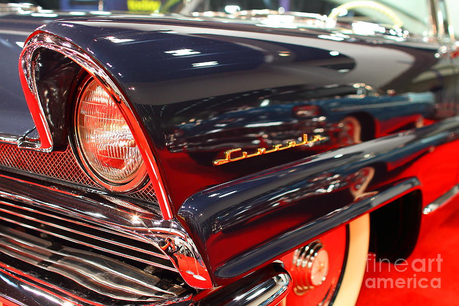Transportation Photograph - 1956 Lincoln Premiere Convertible . Blue . 7d9249 by Wingsdomain Art and Photography