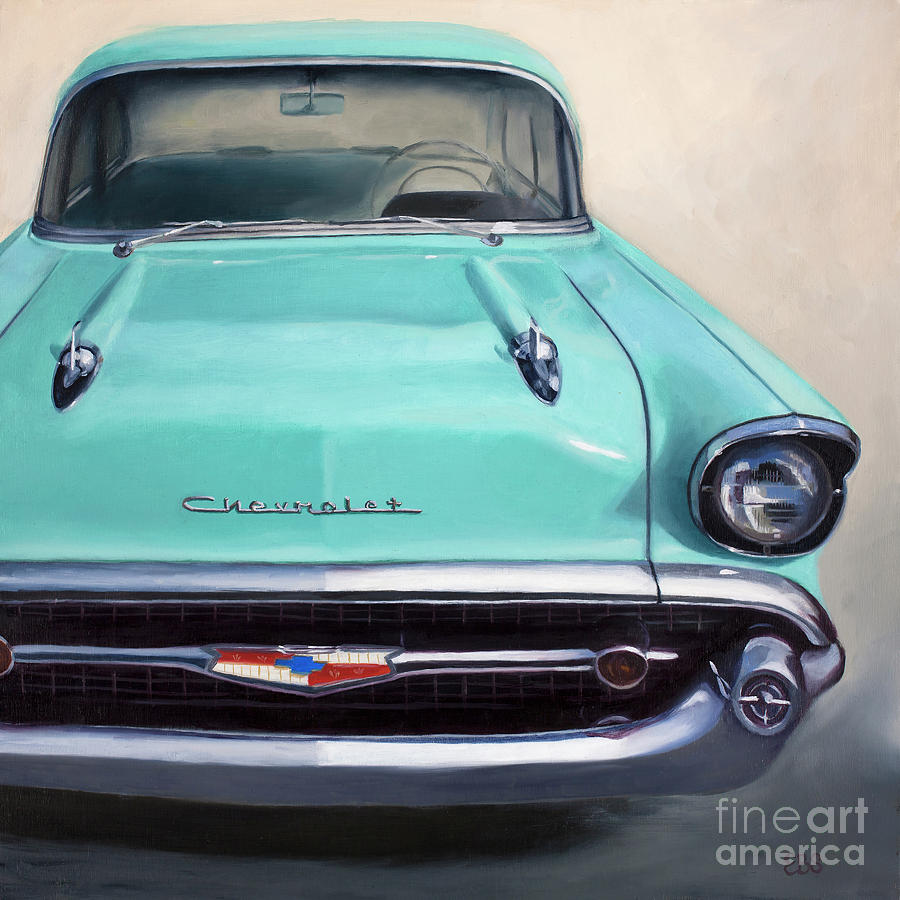50s Painting - 1957 Blue Chevy by Elaine Smith