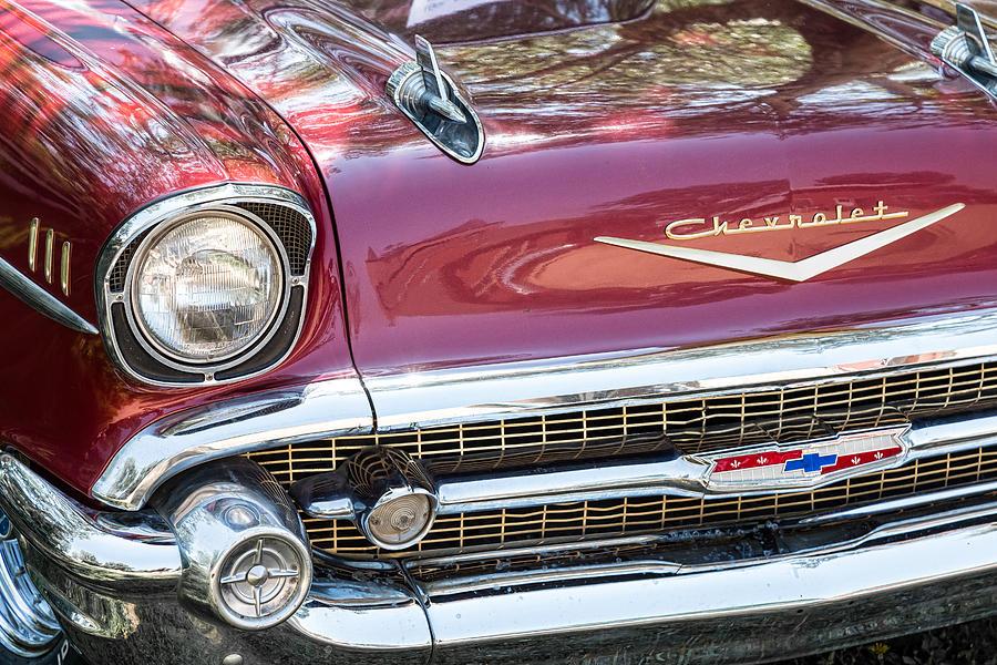1957 Chevrolet Burgundy Bel Air Front Chrome Photograph