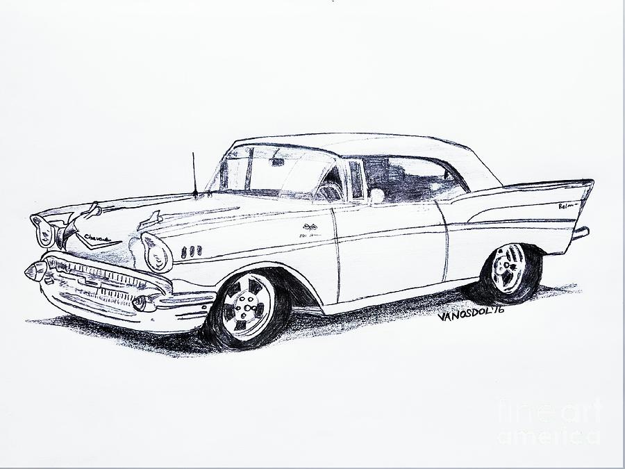 this is a pencil drawing of a 1954 chevy bel air that i