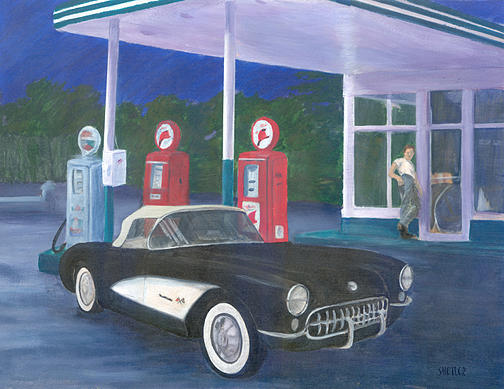 Classic Car Painting - 1957 Corvette At Gas Station by Kathleen Shetler