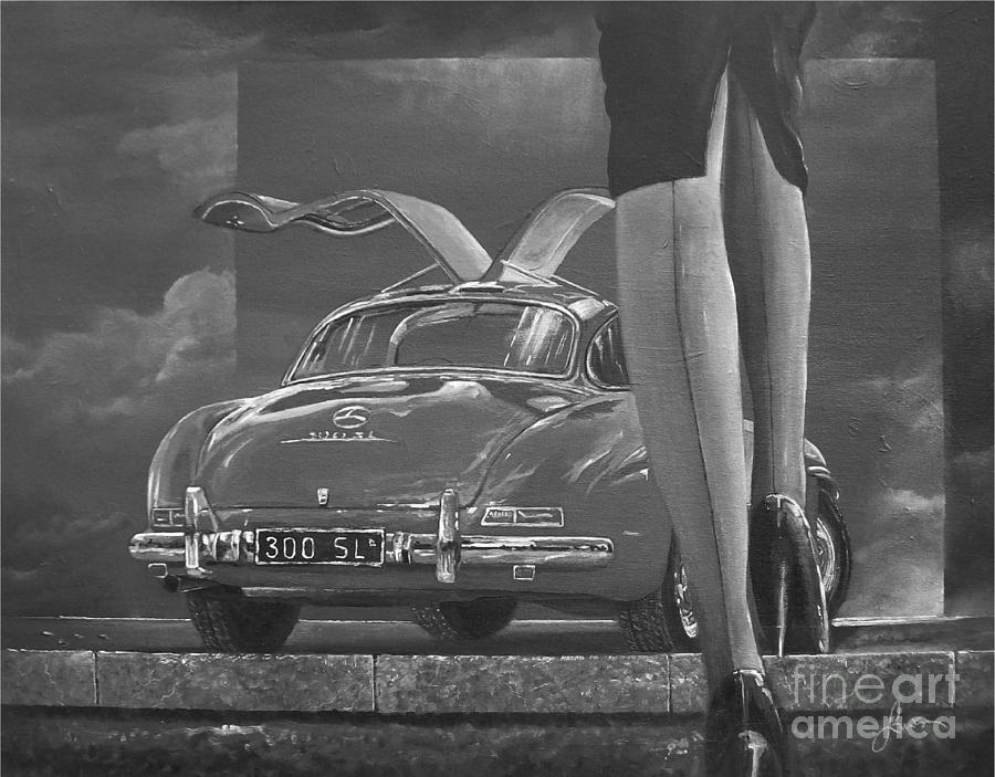 1957 Mercedes Benz 300 SL Gullwing coupe In Black and White by Sinisa Saratlic