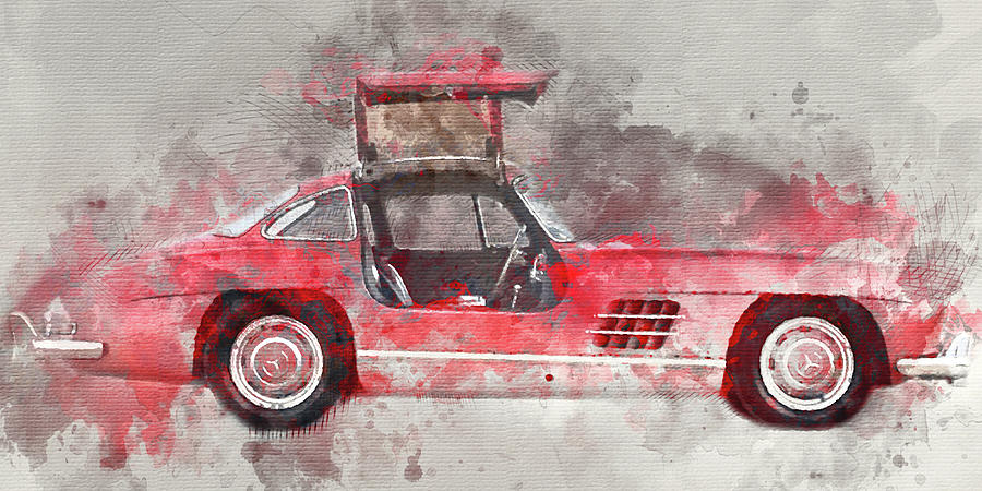1957 Painting - 1957 Mercedes Gullwing by Diana Van