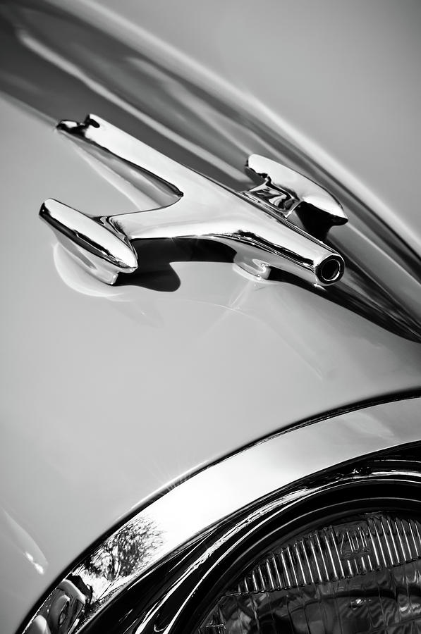 Transportation Photograph - 1957 Oldsmobile Hood Ornament -0267bw by Jill Reger