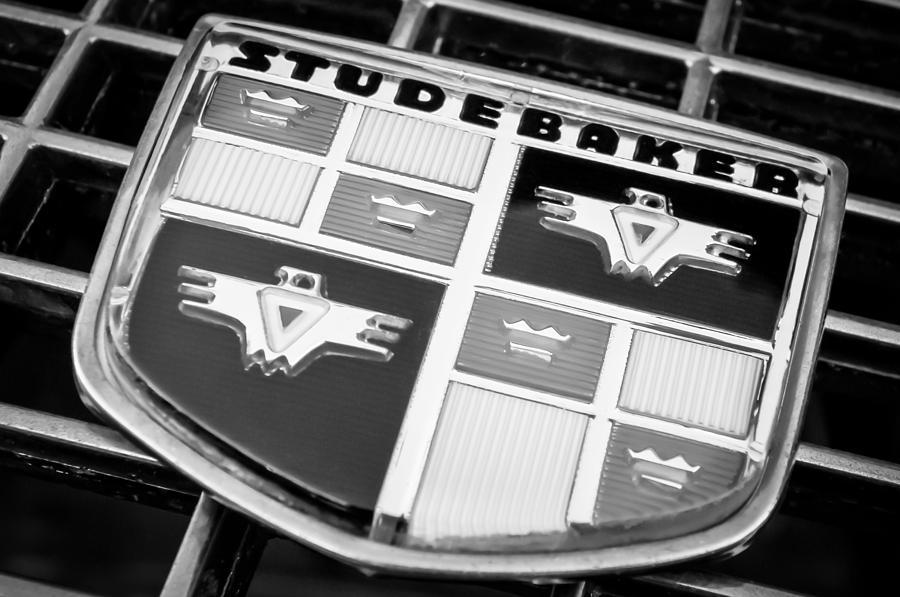 Transportation Photograph - 1957 Studebaker Golden Hawk Emblem -0393bw by Jill Reger