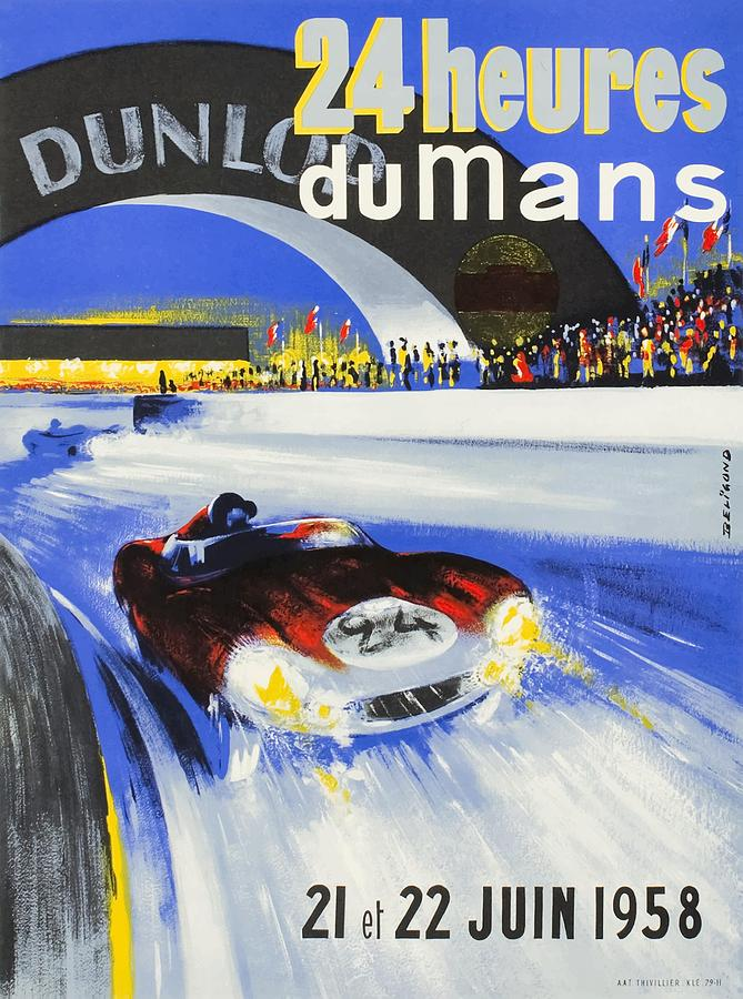Vintage Grand Prix Digital Art - 1958 24h Le Mans Grand Prix Automobile Race Poster by Retro Graphics