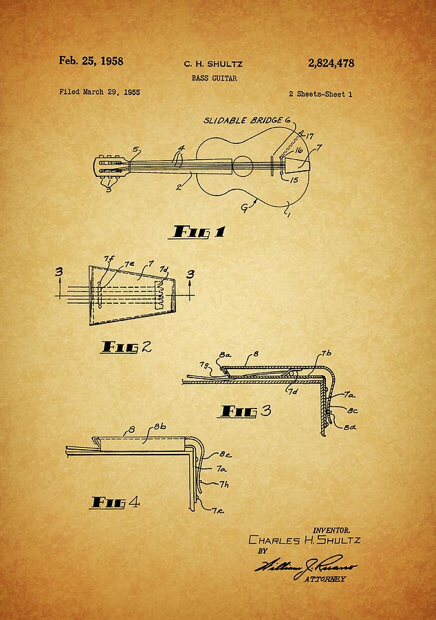 1958 Bass Guitar Patent Drawing