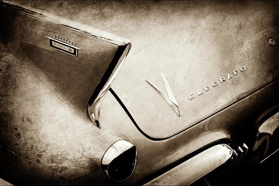 Transportation Photograph - 1958 Cadillac Eldorado Biarritz Taillight Emblems -0255s by Jill Reger