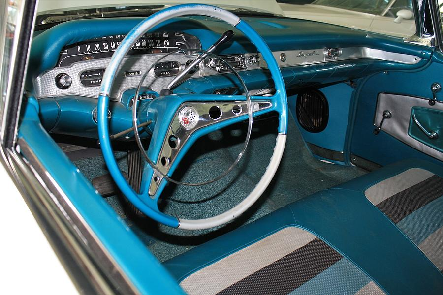 1958 Chevy Chevrolet Impala Dashboard Blue Photograph By