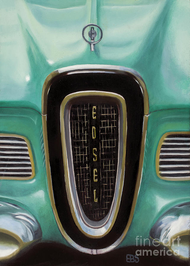 50s Painting - 1958 Ford Edsel by Elaine Brady Smith Art by Elaine Brady Smith