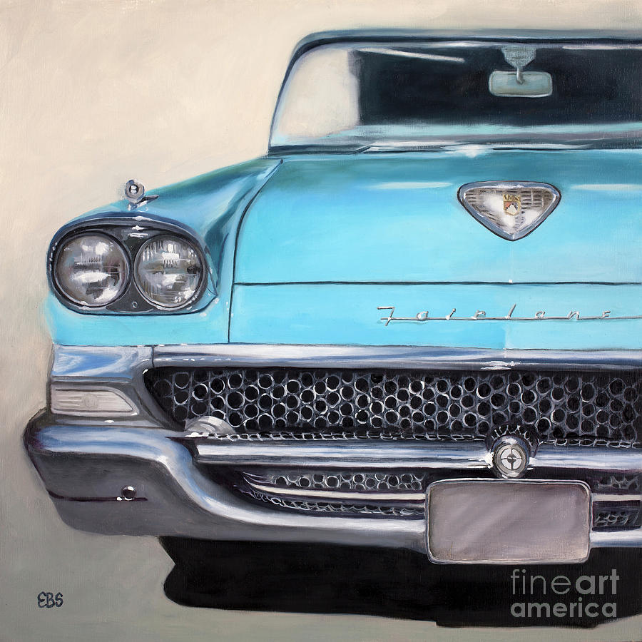 50s Painting - 1958 Ford Fairlane by Elaine Brady Smith