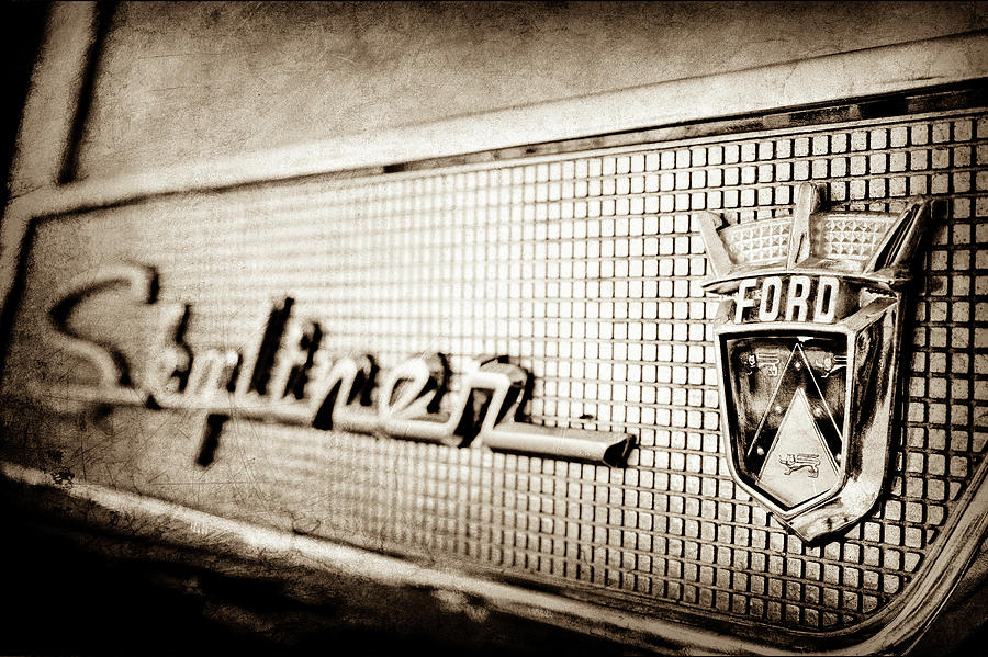 Transportation Photograph - 1958 Ford Fairlane Skyliner Hardtop Convertible Emblem -0437s by Jill Reger