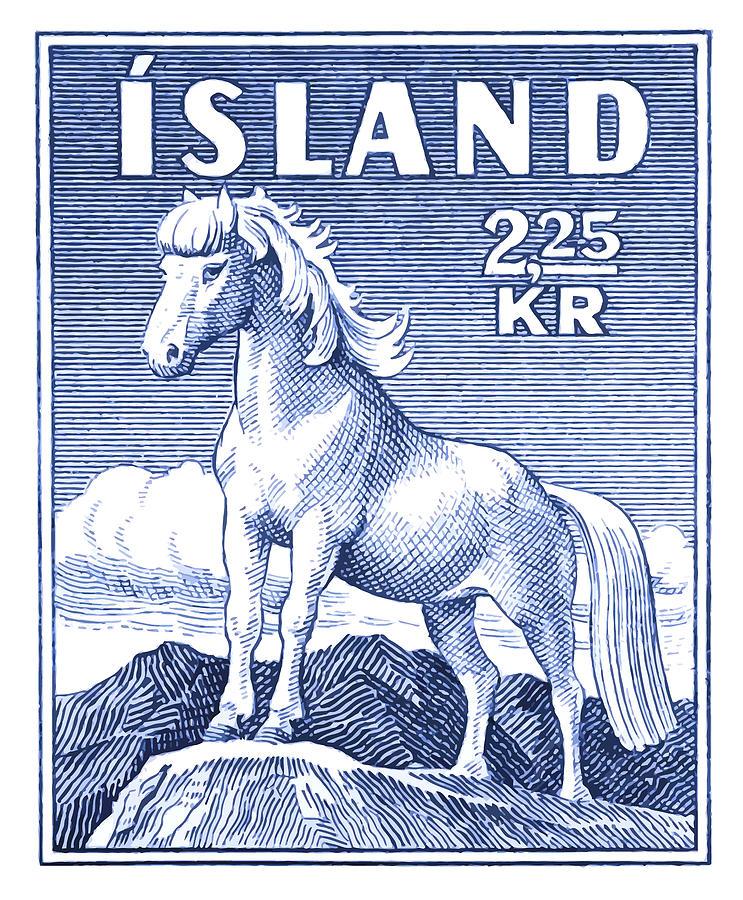 Iceland Digital Art - 1958 Icelandic Horse Postage Stamp by Retro Graphics