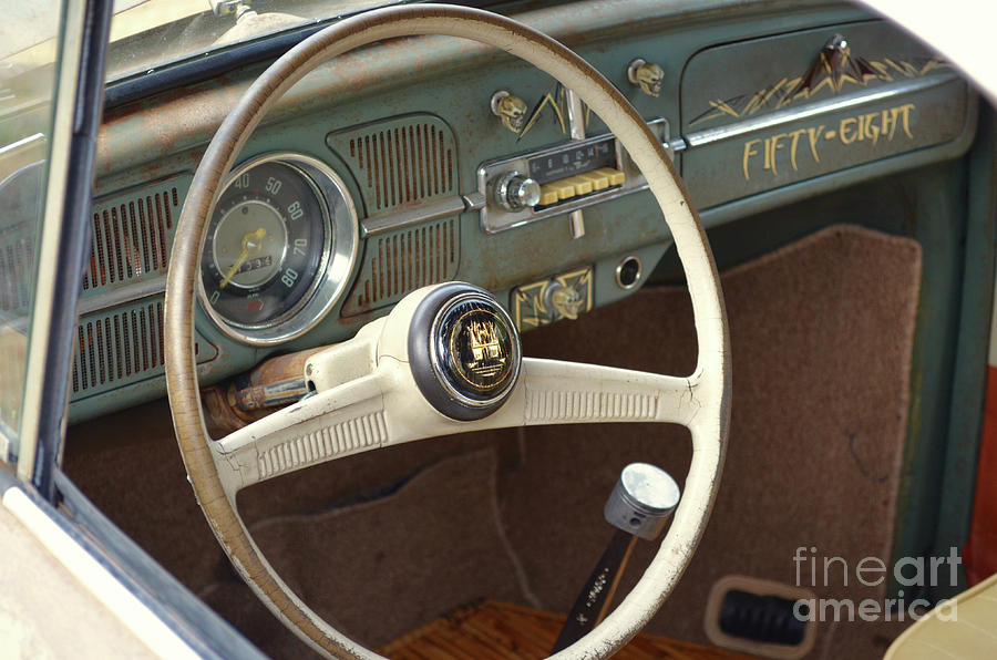 Cars Photograph   1958 Volkswagen Beetle Interior By Jason Freedman
