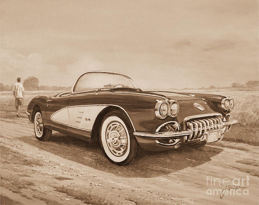 1959 Chevrolet Corvette Cabriollet In Sepia by Sinisa Saratlic