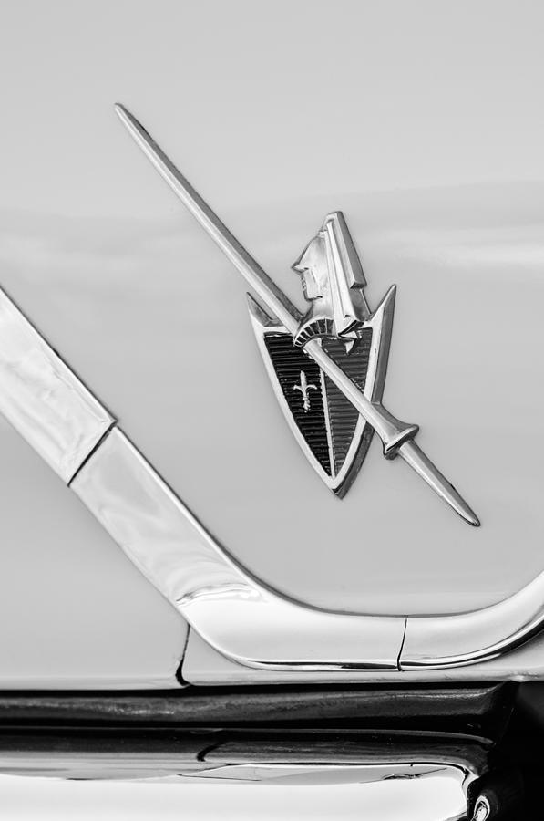 Transportation Photograph - 1959 Dodge Coronet Emblem -0885bw by Jill Reger