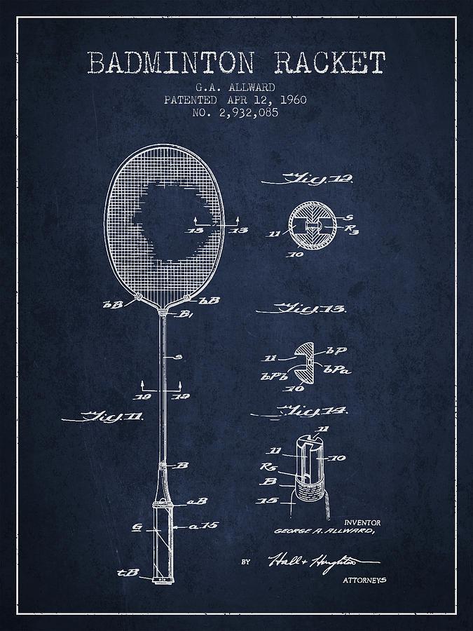 Badminton Digital Art - 1960 Badminton Racket Patent Spbm01_nb by Aged Pixel