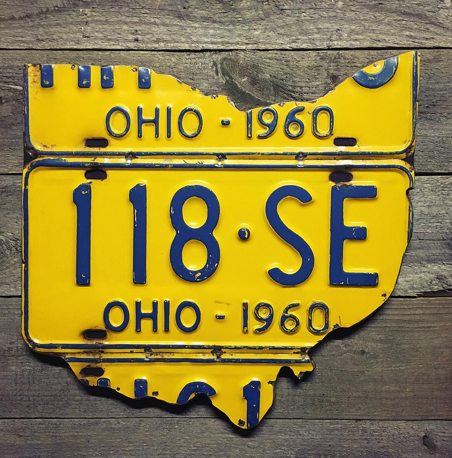 1960 Ohio License Plate Map Mixed Media by Rustic Apple Art