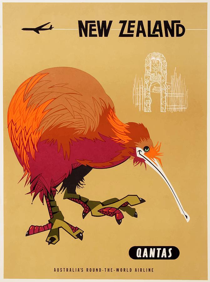 Qantas Digital Art - 1960 Qantas New Zealand Kiwi Travel Poster by Retro Graphics