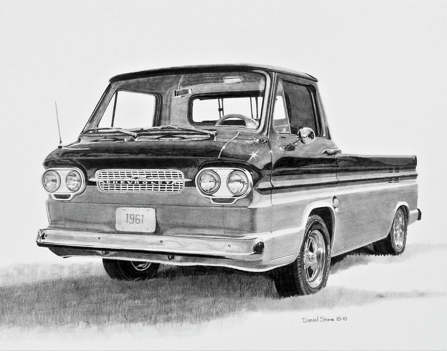1961 Chevrolet Corvair Rampside Drawing - 1961 Chevrolet Corvair Rampside by Daniel Storm