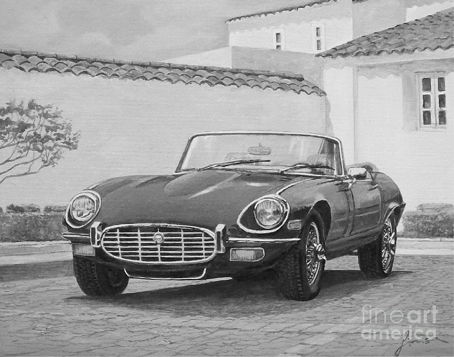1961 Jaguar XKE Cabriolet In Black And White by Sinisa Saratlic