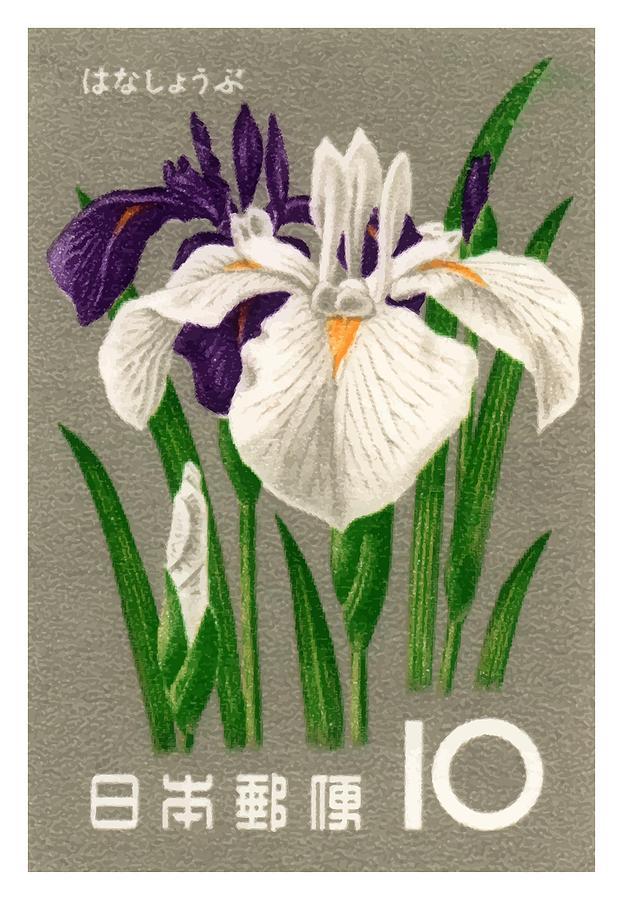 Japan Digital Art - 1961 Japan Iris Postage Stamp by Retro Graphics