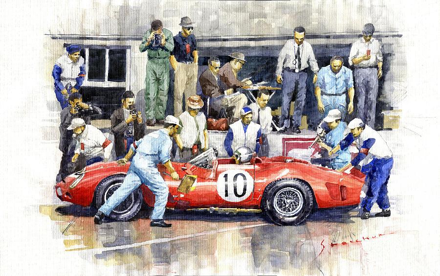 Watercolor Painting - 1961 Le Mans 1961 Ferrari 250 Tri Olivier Gendebien Phil Hill Winner  by Yuriy Shevchuk