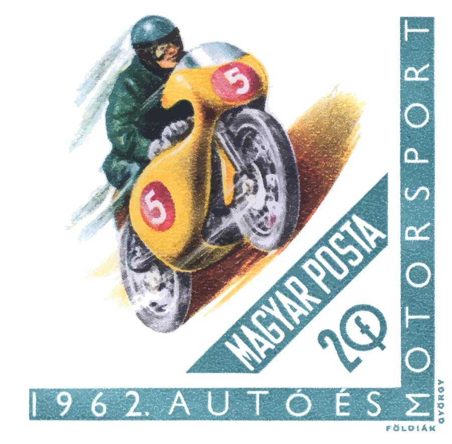 Motorsport Digital Art - 1962 Hungary Motorsport Motorcycle Stamp by Retro Graphics