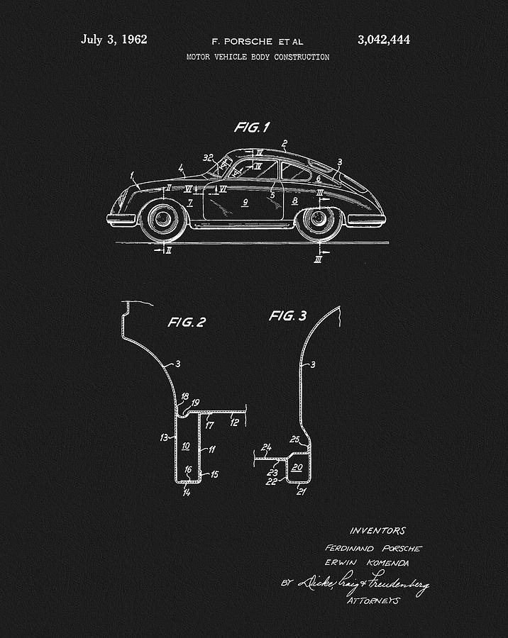 Ferdinand Porsche Mixed Media - 1962 Porsche Patent by Dan Sproul